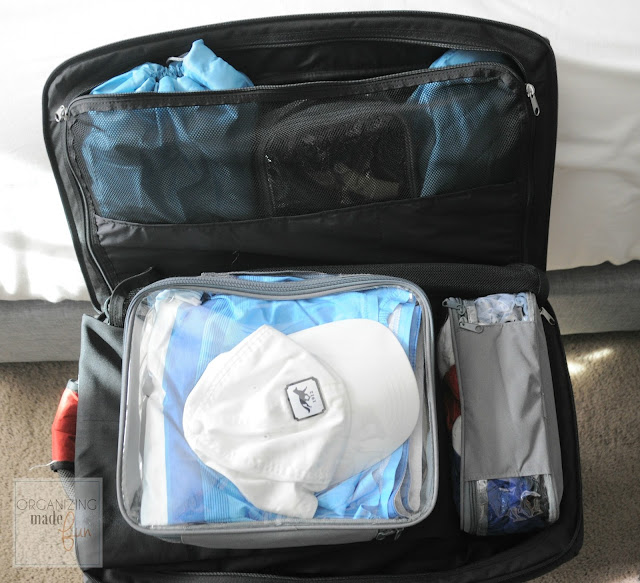 Packing cubes help keep things neat and organized, fitting easily into a carry on bag :: OrganizingMadeFun.com