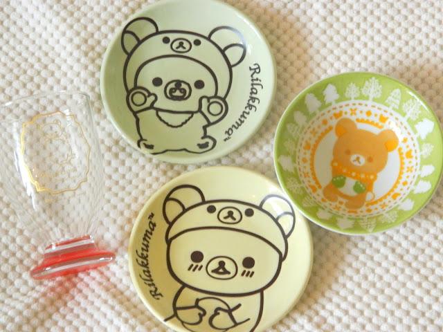 A selection of prizes from a Rilakkuma ichiban kuji