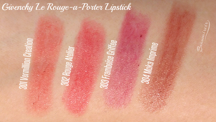 Givenchy Le Rouge-a-Porter: Swatches of Vermillion Creation, Rouge Atelier, Framboise Griffee, Moka Imprime