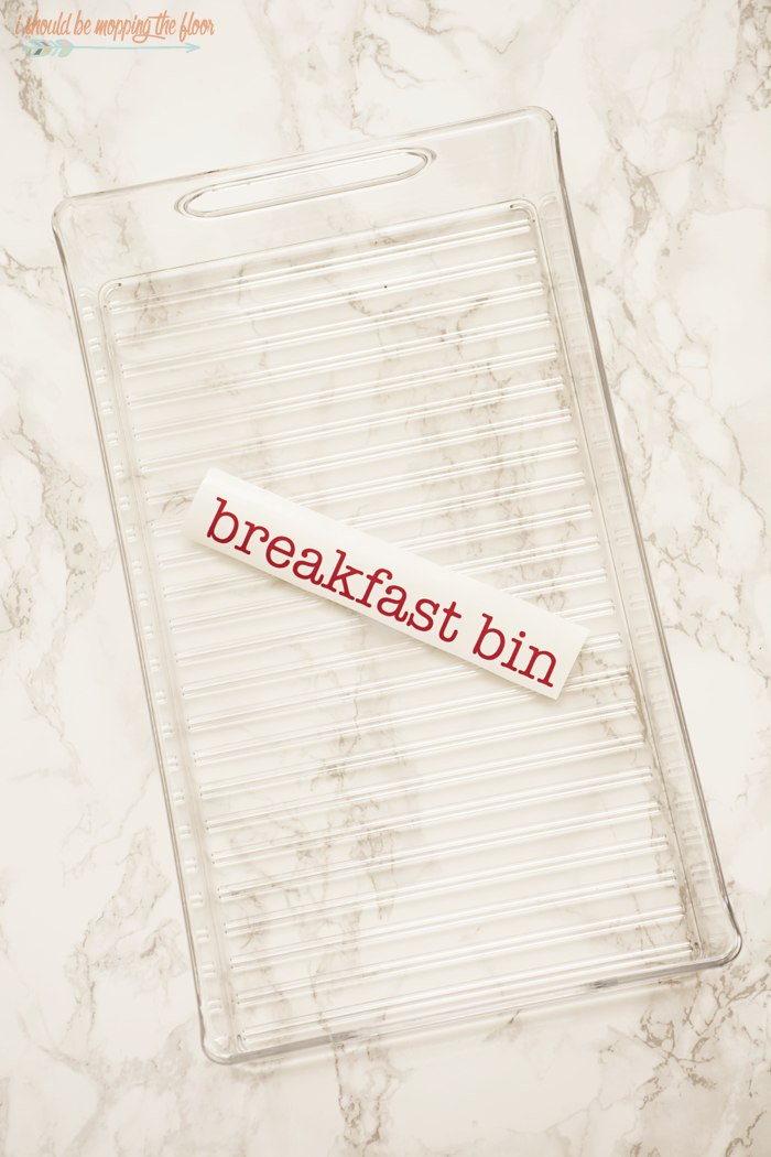 "Refrigerator Breakfast Bin | Put together a ""grab-n-go"" breakfast box in your refrigerator so your family can help themselves to breakfast items on the hectic mornings."