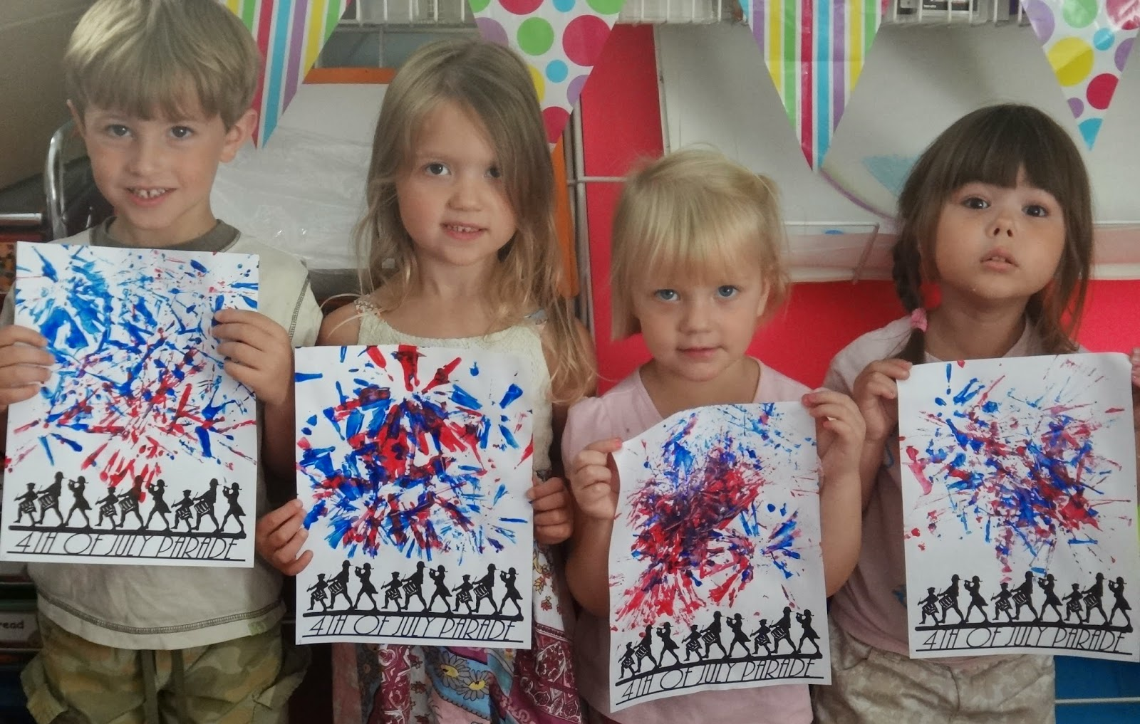 Little Stars Learning 4th Of July Fireworks Straw Painting