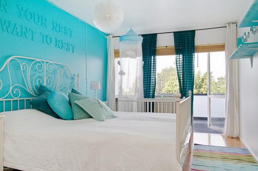 dormitorios juvenil color turquesa y blanco