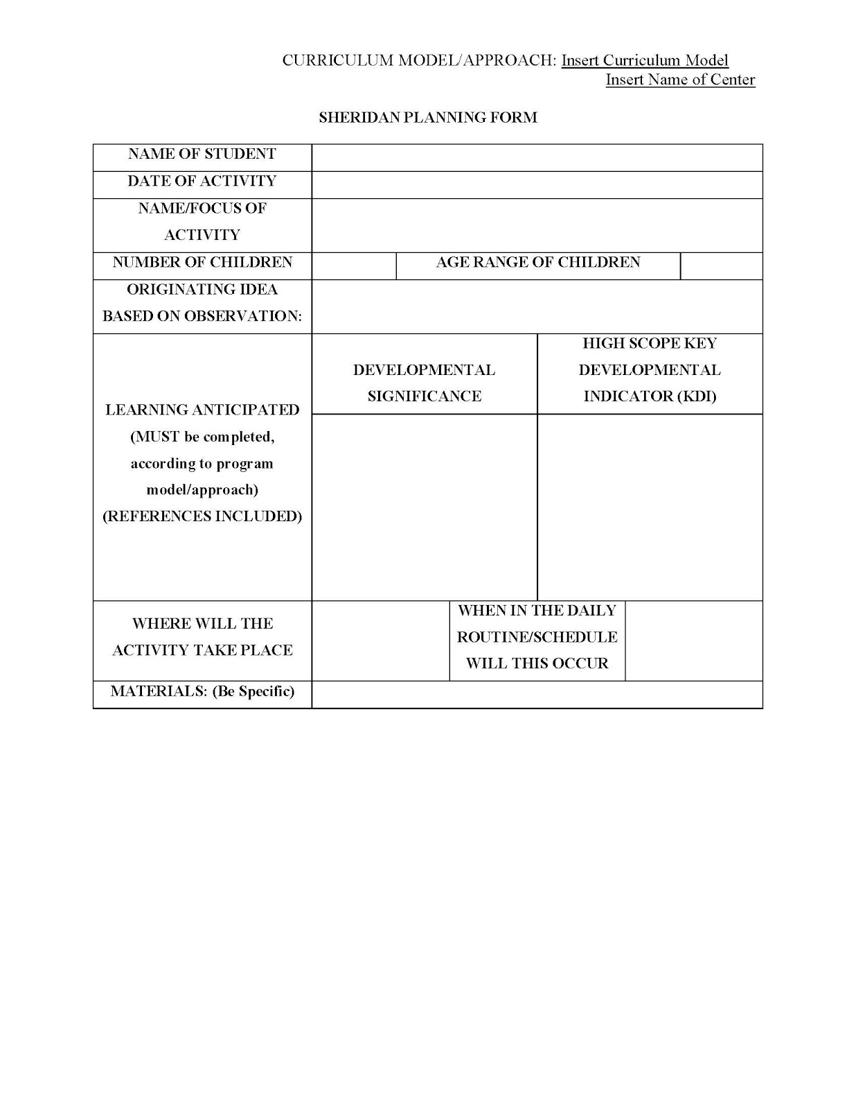 Early Childhood Education Ece Planning Form Template