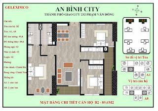 Mặt bằng thiết kế căn hộ B2 - 89m2 An Bình City