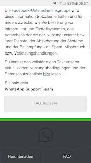 Screenshot WhatsApp FAQ Hinweis zur Datenweitergabe an Facebook-Unternehmensgruppe