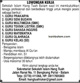 Lowongan Kerja Sekolah Islam Hang Tuah