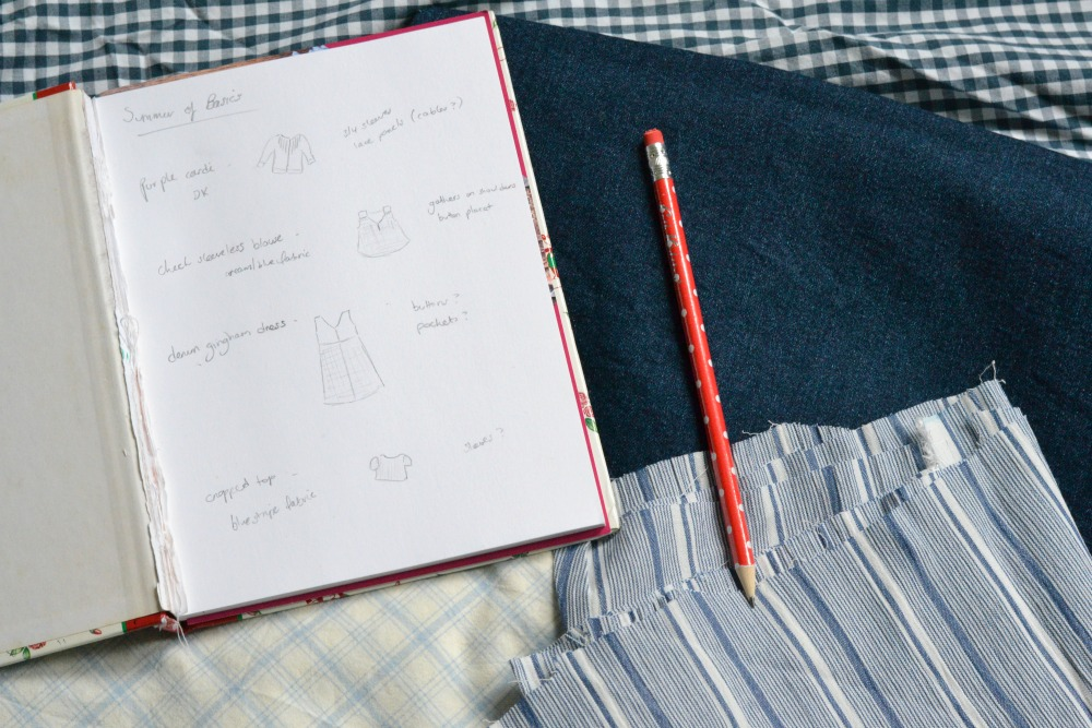 summer of basics plan notebook sketch pad pencil polka dots spotty cath kidston gingham fabric sewing wardrobe planning plaid gingham denim checks stripes