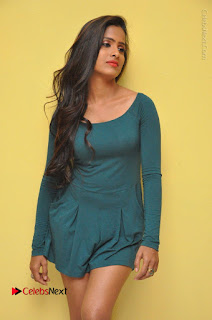 Telugu Actress Prasanthi Stills in Green Short Dress at Swachh Hyderabad Cricket Press Meet  0011.JPG