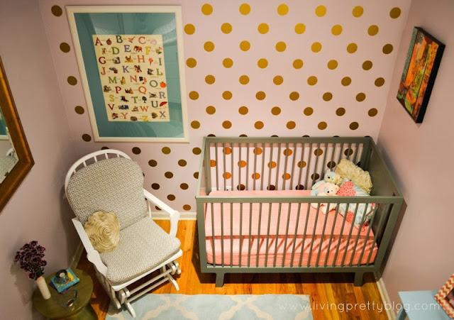 Polka dot decals in loft nursery reveal