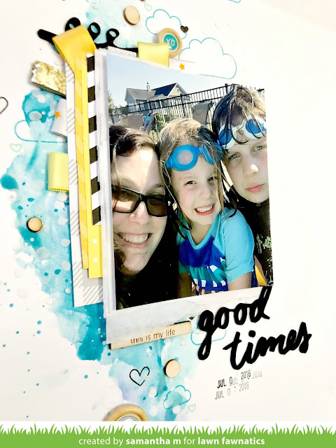 Good Times, Good Summer Layout by Samantha Mann, Lawn Fawnatics Challenge, Lawn Fawn, Scrapbook, Mixed Media, Watercolor, #lawnfawn #lawnfawnatics #scrapbook #scrapbooking #layout