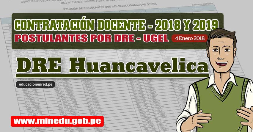 DRE Huancavelica: Lista de Postulantes por UGEL DRE - Contrato Docente 2018 (.PDF) www.drehuancavelica.gob.pe