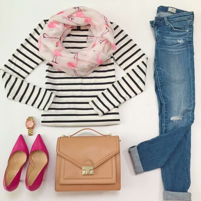 AG distressed super skinny jeans Ann Taylor striped shoulder zip top Kate Spade lottie pumps, Loeffler Randall rider bag Michael Kors runway gold pink watch outfit flatlay Sole Society Flamingo infinity scarf