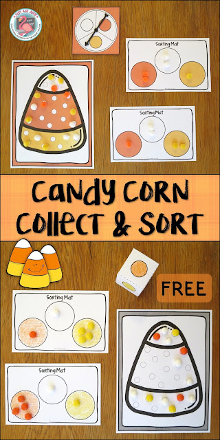 Candy Corn Collect & Sort is a free sorting and counting activity for preschoolers and kindergarteners. Spin or roll, then collect and sort by color.