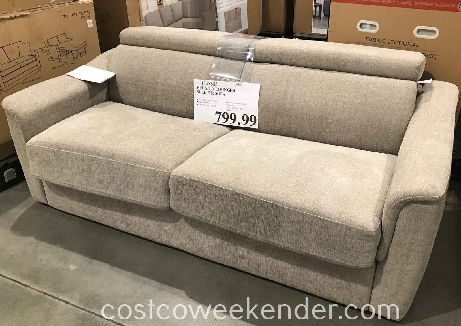 Give guests a place to sleep on with the Relax A Lounger Fabric Sleeper Sofa