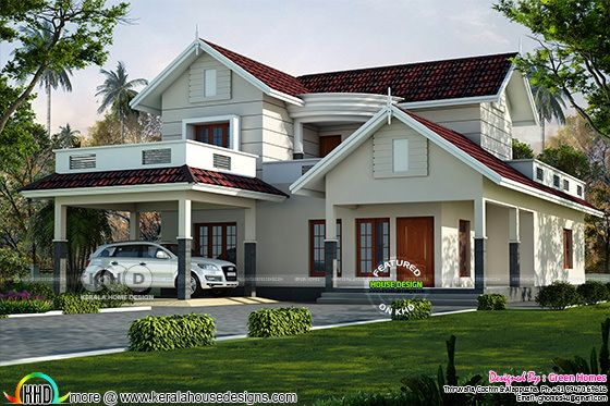 2600 sq-ft 4 bedroom sloping roof villa