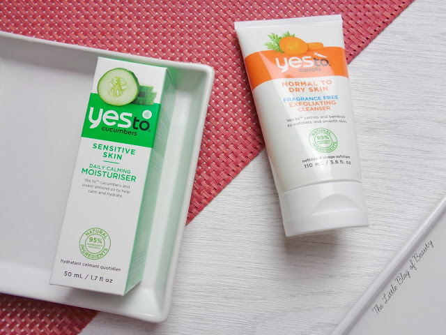 Yes to Carrots Exfoliating cleanser & Yes to Cucumbers Daily Calming moisturiser