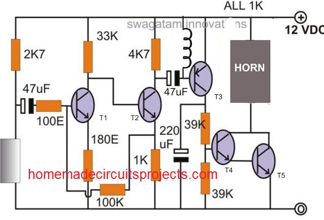simple car shock alarm circuit