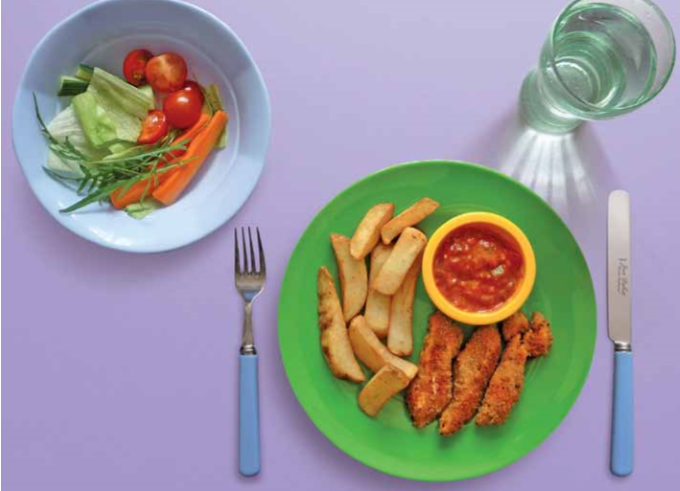 Salmon fish fingers, tomato salsa, oven chips and salad Recipe
