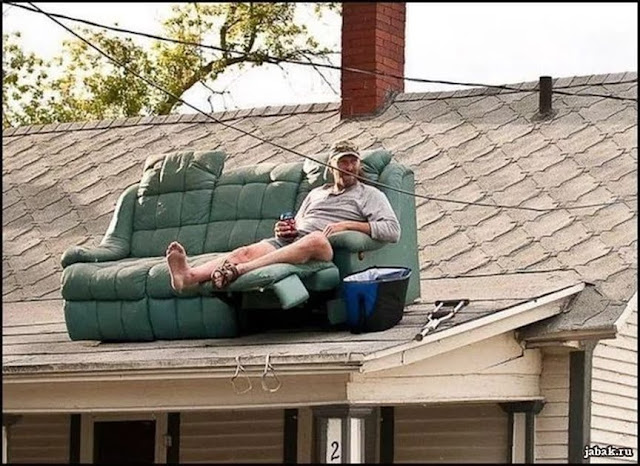 In America, anyone can be president. That's one of the risks you take... - Adlai Stevenson   Redneck penthouse. Sofa on roof with guy drinking a beer. Celebrate While You Can. marchmatron.com