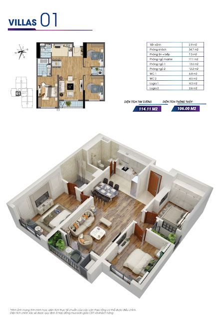 Mặt bằng căn hộ số 01 tòa Sapphire 2