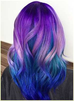 Peacock Tail Two Tone Hair - Two Tone Hair Color Ideas For Long Hair