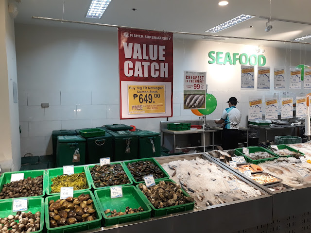 Value Catch. Fisher Supermarket has a vision of offering Pinoys the freshest and most affordable seafood in town. They open at 7:00 AM and the deliveries come at 5:00 AM or earlier, proof that seafood really is fresh catch!
