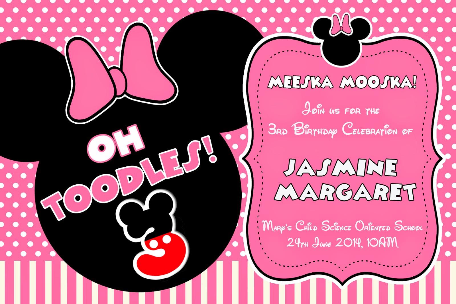 Minnie Mouse Birthday Invitation Stupigity