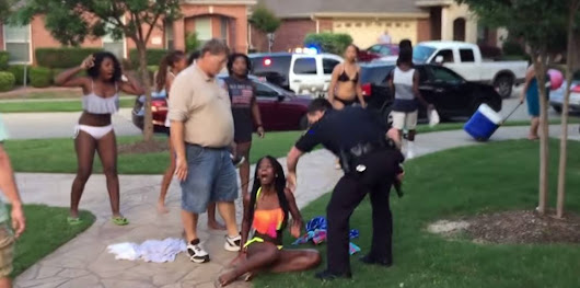 America . . . where a white woman yelling racist insults ends in the brutalization of black children