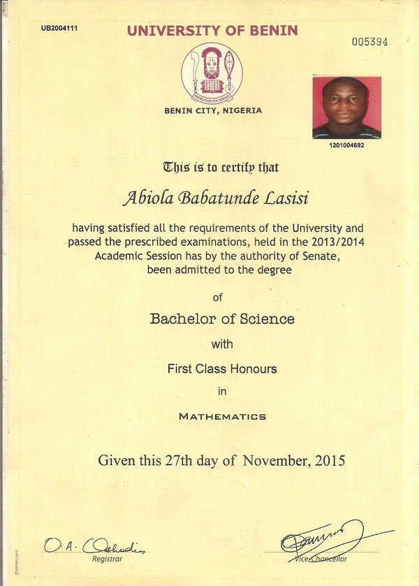 First class graduate of UNIBEN cries out to Buhari over lack of employment