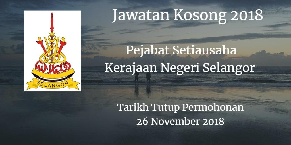 Jawatan Kosong Pejabat Setiausaha Kerajaan Negeri Selangor 26 November 2018