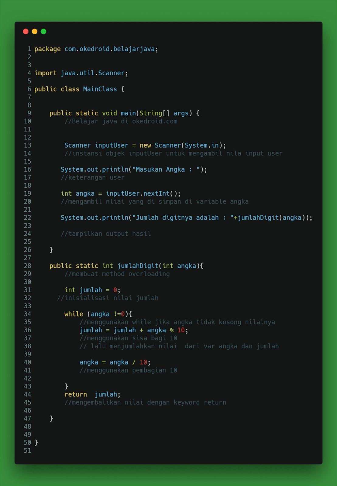 Contoh Code Program Menghitung Jumlah Digit Angka Integer di Java