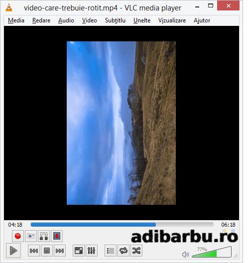 Cum apare o imagine rotitiă în VLC