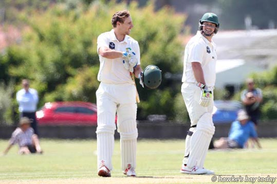 L-R: Dane Cleaver, after scoring his century; Jesse Ryder, Central Districts, CD Stags - cricket vs ND Northern Districts, at Nelson Park, Napier. photograph