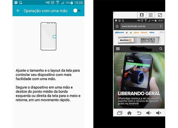 Recurso que encolhe a tela em uma das laterais do smartphone Galaxy da Samsung