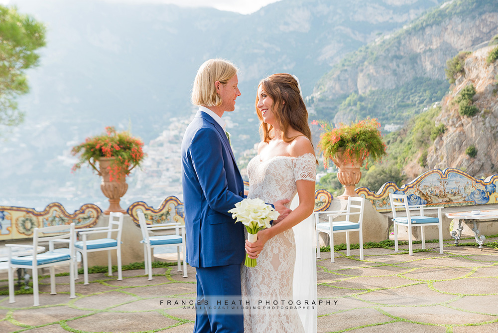 Bride and groom at San Pietro hotel