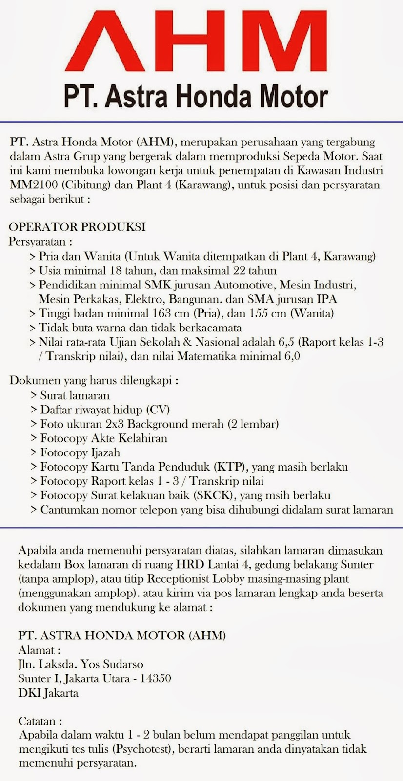 Loker Pt Ahm Cibitung Tahun 2013 Lowongan Kerja Pt Denso Indonesia Silokerinfo Lowongan Kerja Pt Astra Honda Motor Ahm Loker Purwasuka