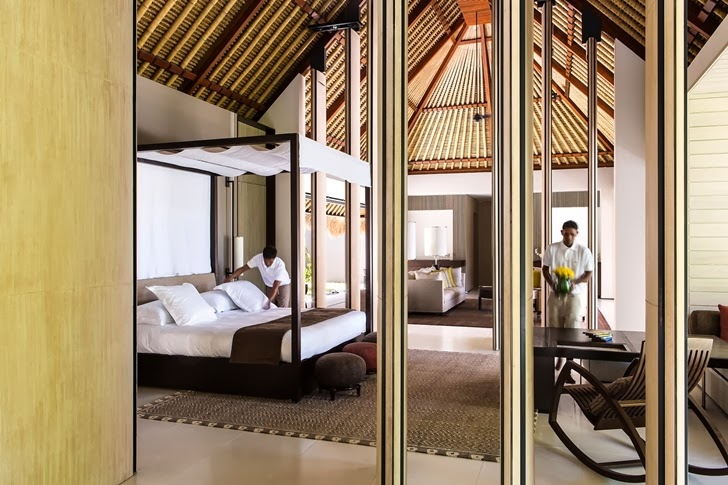 Bedroom in Modern villa in Maldives by Jean-Michel Gathy