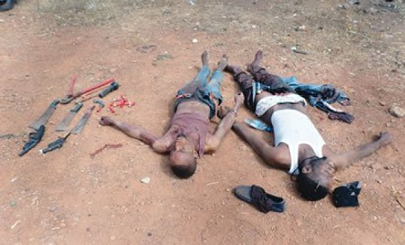 Bloody Battle: Two Deadly Armed Robbers Gunned Down During Heavy Shootout With Policemen In Ibadan (Photo)