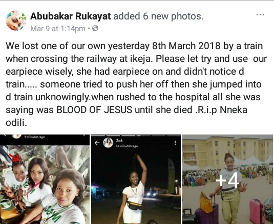 """All she was saying was Blood of Jesus until she died""- Friends, family members mourn Corps member killed by train in Lagos (graphic photos)"