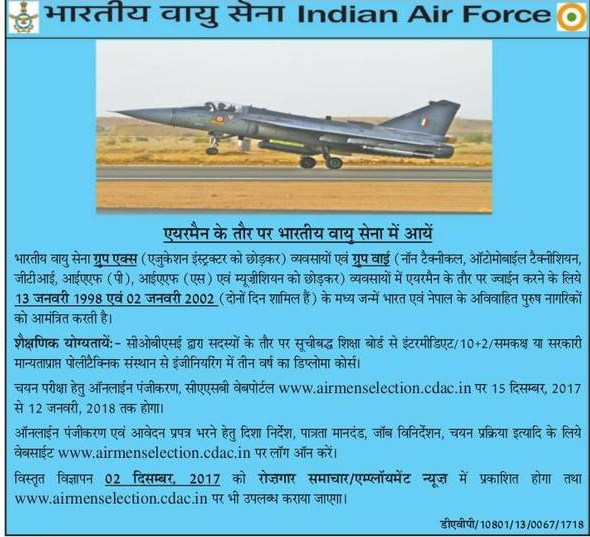 Indian Airforce Group Y Syllabus 2018 Model Question Papers