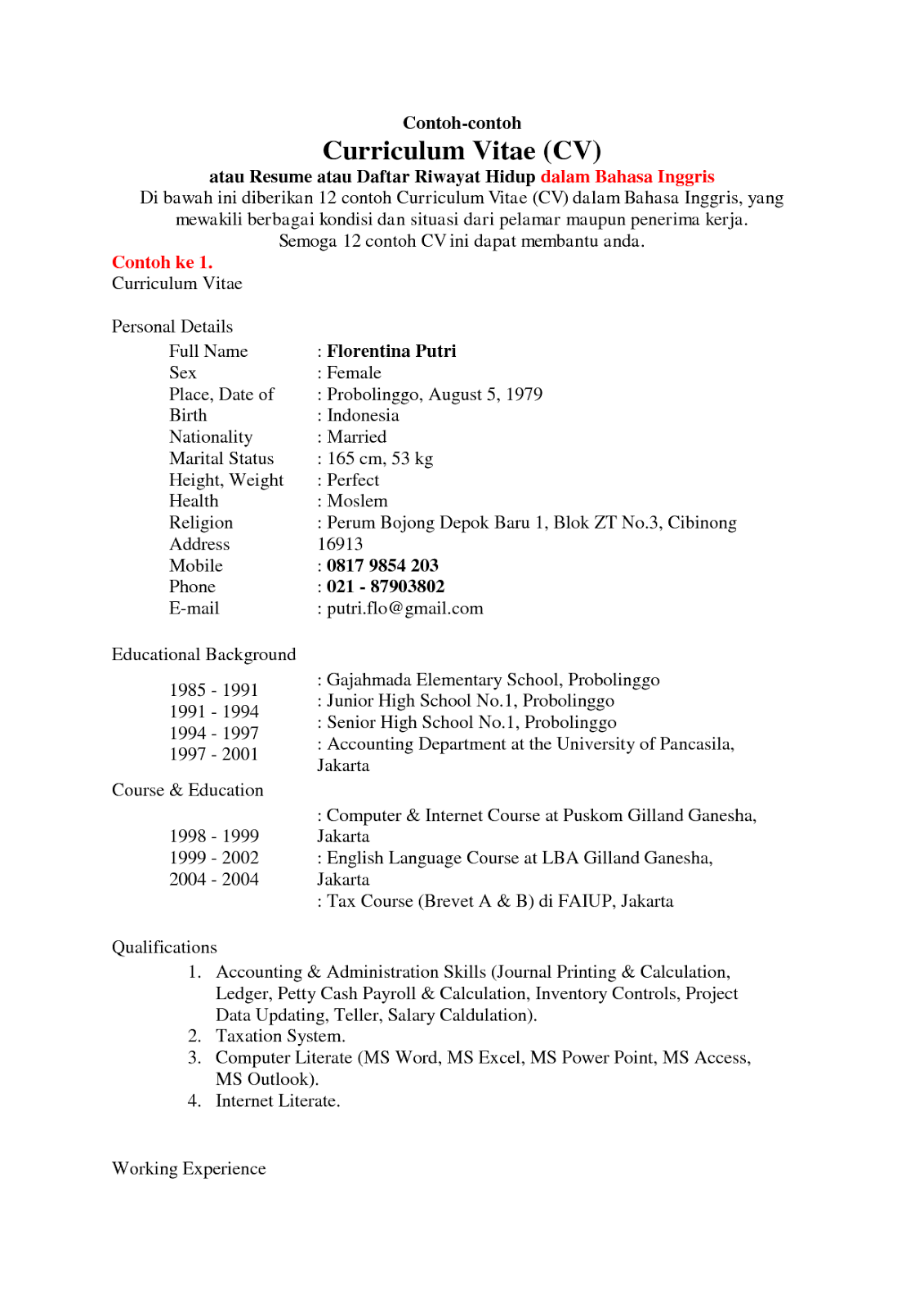 Curriculum Vitae Lamaran Kerja Bahasa Inggris