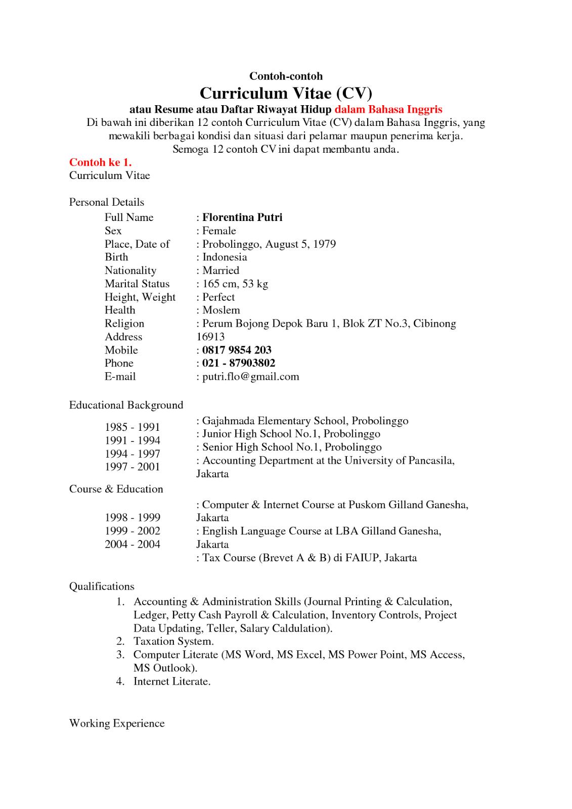 Contoh Cv Bahasa Inggris Akuntansi Ciupa Biksemad