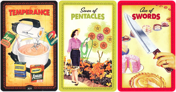 The Housewives Tarot Deck Temperance, Seven of Pentacles, Ace of Swords