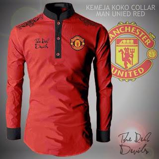 Baju Koko Muslim Pria Collar Manchester United