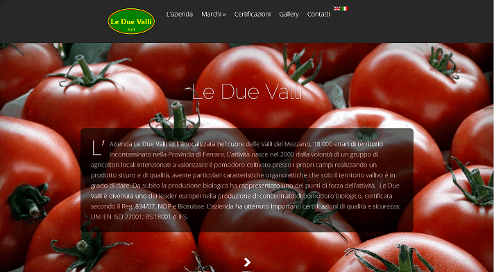 Picture to Italian food exporter company named Le Due Valli Srl