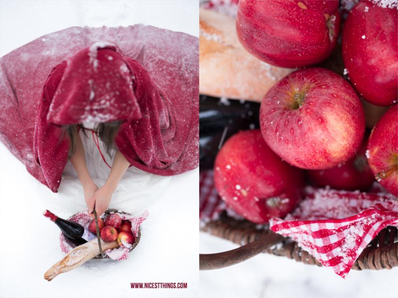Rotkäppchen Korb mit Äpfeln Fotoshooting