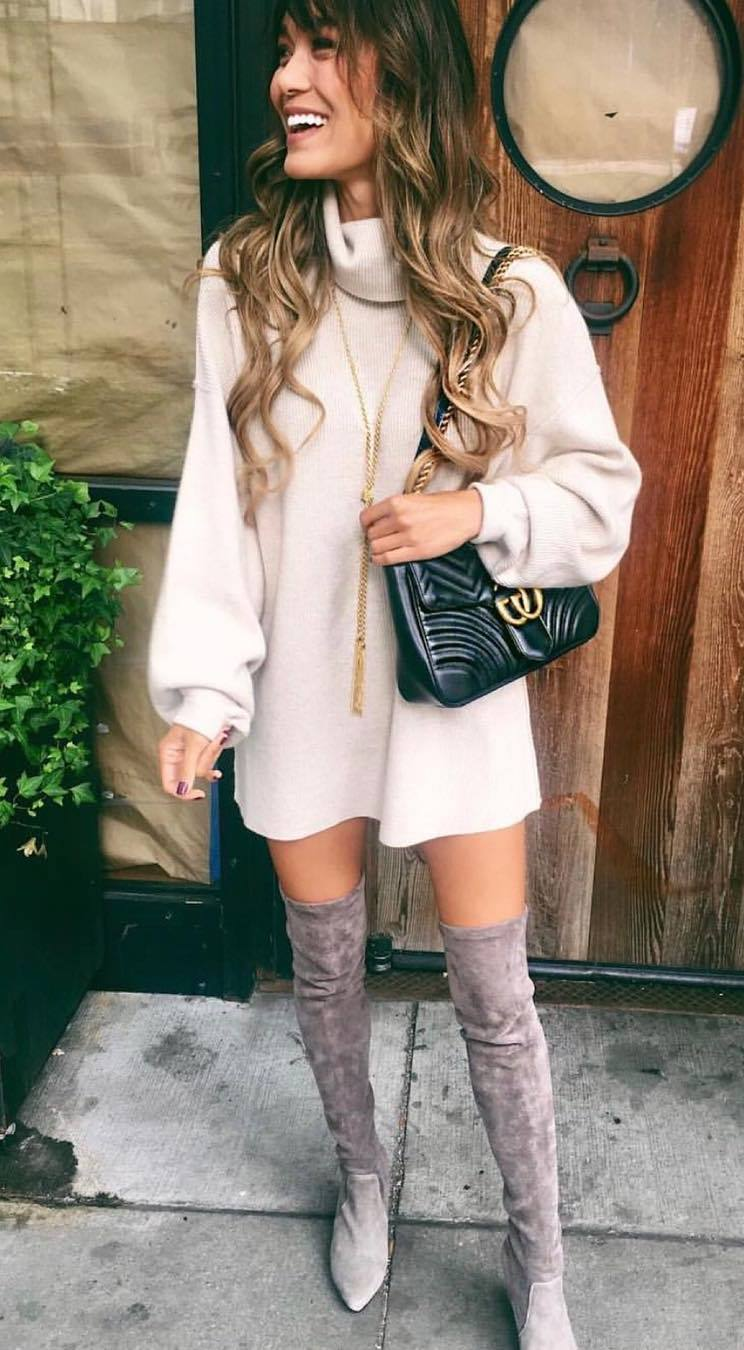 incredible winter outfit_cashmere sweater dress + bag + nude over knee boots