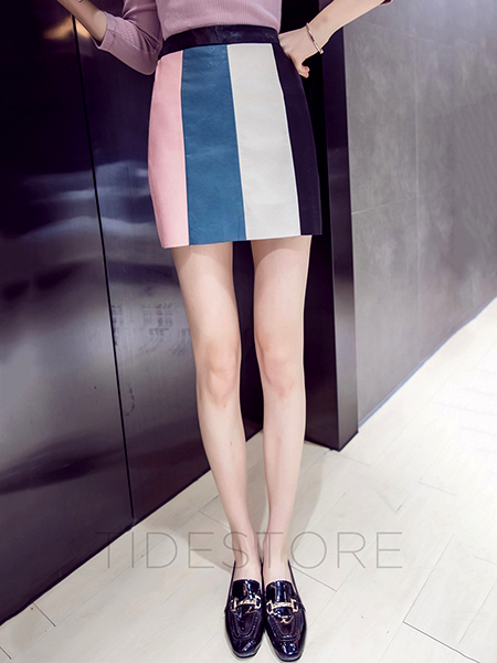 Mini Skirt Color Block