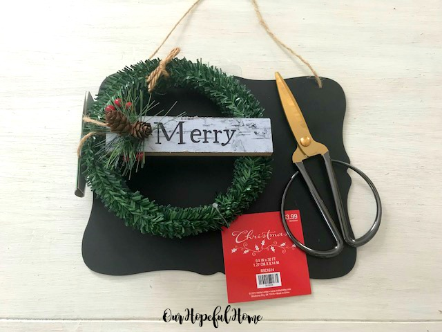 wreath scissors chalkboard ornament