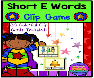 SHORT E WORDS, SHORT VOWEL GAMES, CLIP GAMES, LITERACY CENTERS
